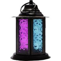Lanterna C/ Porta-Vela | Rosa E Azul
