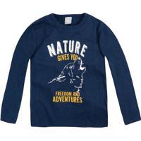 "Camiseta ""Nature""- Azul Marinho & Branca- Primeiros Hering"