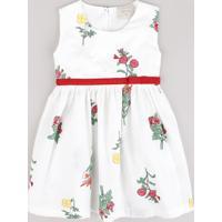 Vestido Infantil Estampado Floral Com Laço Sem Manga Branco