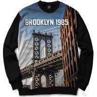 Blusa Bsc Brooklyn Bridge Full Print - Masculino-Preto
