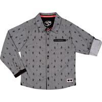 Camisa Abstrata- Preta & Brancatip Top