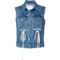 Proenza Schouler Colete Jeans Pswl Com Amarração - Azul