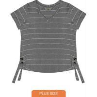Blusa Plus Size Listrada Secret Glam Cinza