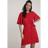 Vestido Feminino Curto Com Faixa Para Amarração Manga Curta Vermelho