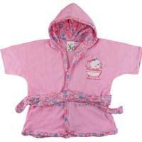Roupão De Bebê Era Uma Vez Com Capuz Estampado Rosa