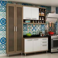 Cozinha Compacta New Vitoria I 6 Pt 3 Gv Avelã Com Bianco