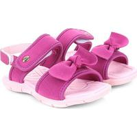 Sandália Infantil Klin Laço Velcro Tic Tac Menina - Feminino-Rosa