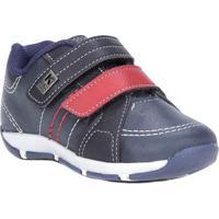 Sapato Klin Infantil Para Bebê Menino - Azul Marinho/Vermelho