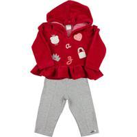 Conjunto Ano Zero Bebê Plush E Cotton Ursinha E Bolsa Ano Zero Vermelho