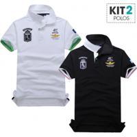 Kit 2 Camisas Polo Piquet Masculino Air Force Manga Curta - Branco E Preto