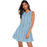 Vestido Fiveblu Curto Geométrico Azul