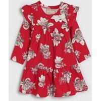 Vestido Milon Infantil Floral Vermelho