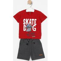 """Conjunto De Camiseta """"Skate Dog"""" + Bermuda- Vermelho & Cgueda Kids"""