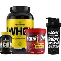 Kit Power Whey Pote + Powerbcaa + Brigadeiro Proteico + Coqueteleira Multicolorido.
