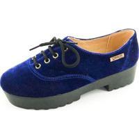Oxford Quality Shoes Tratorado Veludo Feminino - Feminino-Azul