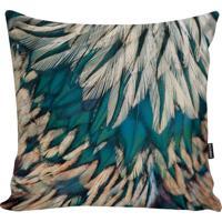 Capa Para Almofada Feathers- Azul Turquesa & Off White