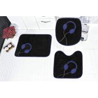 Jogo De Banheiro Guga Tapetes Fone 3 Pçs Azul Royal
