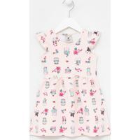 Vestido Infantil Estampa De Cactos - Tam 1 A 4 Anos