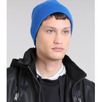 Gorro Masculino Básico Em Tricô Azul - Único