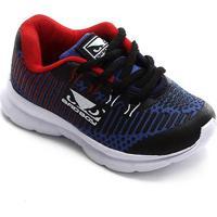 Tênis Infantil Bad Boy Mesh Jogging Baby Masculino - Masculino-Preto+Azul