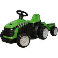 Carrinho Mini Trator Infantil Elétrico Verde 6V Com Reboque
