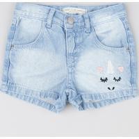 Short Jeans Infantil Com Bordado Unicórnio Azul Claro