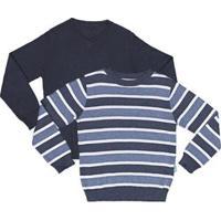 Kit 2 Blusas Infantil Jokenpô Tricot Masculina - Masculino-Azul