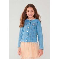 Jaqueta Jeans Infantil Menina Com Puídos Azul