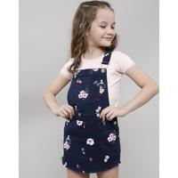 Jardineira Short Saia De Sarja Infantil Estampada Floral Com Bolso Azul Marinho