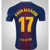 Camisa Do Barcelona I 17/18 Nº 17 Paco Alcácer - Masculina - Azul Escuro