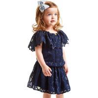 Vestido Gira Baby Kids Infantil Com Babado Honey Azul Marinho