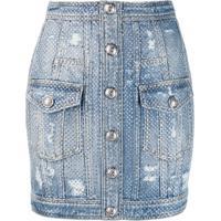 Balmain Saia Jeans Destroyed Com Cristal - Azul