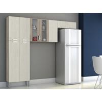 Cozinha Compacta Alfa 9 Portas Arena/Nogal - Lc Mòveis