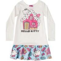 Camisola Manga Longa Bebê Hello Kitty - Feminino-Branco