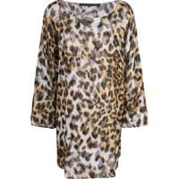 Josie Natori Couture Túnica Com Animal Print E Contas - Marrom