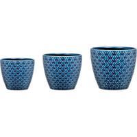 Jogo De Cachepot Geométrico- Azul Escuro & Azul Claro