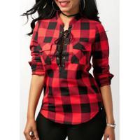 Camisa Feminina Estampa Xadrez Com Bolsos Frontal - Vermelho