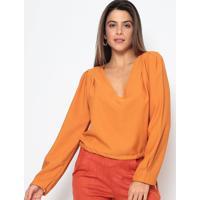 Blusa Lisa Com Amarraã§Ã£O - Amarelo Escuro - Chocoleichocoleite
