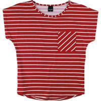 Blusa Vermelha Listrada Com Bolso