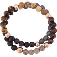 Nialaya Jewelry Pulseira Dupla De Contas - Preto