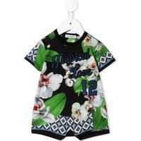 Dolce & Gabbana Kids Macacão Curto Tropical Love - Verde