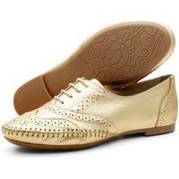 Sapato Oxford Casual Conforto Em Couro 15360 Ouro
