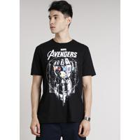 Camiseta Masculina Os Vingadores Manopla Do Infinito Manga Curta Gola Careca Preta