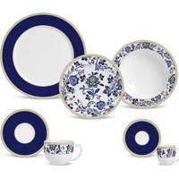 Aparelho De Jantar Flat Classic Blue Cerâmica 42 Peças Porto Brasil