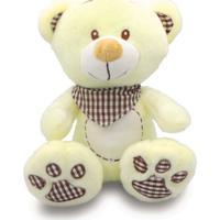 Urso De Pelúcia Com Babador Xadrez 35Cm - Marrom - Unik Toys
