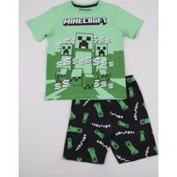 Pijama Infantil Minecraft Manga Curta Verde