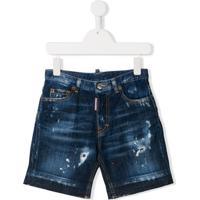Dsquared2 Kids Short Jeans Com Efeito Desgastado - Azul