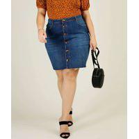 Saia Plus Size Feminina Jeans Marisa