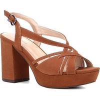 Sandália Couro Shoestock Meia Pata Nobuck Tiras Feminina - Feminino-Marrom