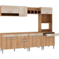 Cozinha Compacta Classic Flex 10 Pt 3 Gv Carvalho Com Blanche E Bordô